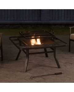 Sunjoy Square Firepit with Adjustable cooktop Grill