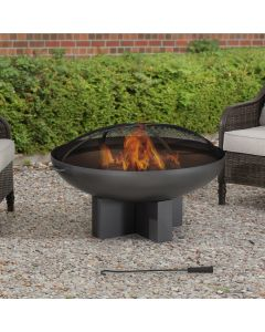 AmberCove Extra Large 40 in. Grey Wood-Burning Firepit