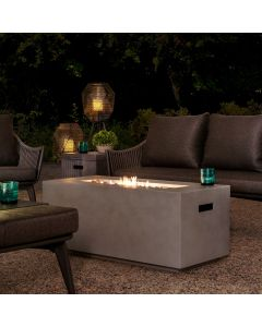 AmberCove Modern 42 in. Rectangular Gray Concrete Propane Powered Fire Pit Table with Lava Rocks and Protective Cover
