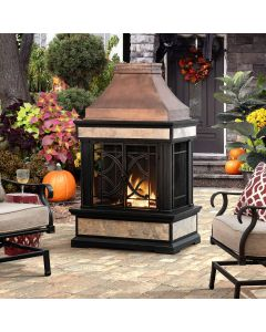 Sunjoy 56.69in. Heirloom Slate Copper Outdoor Wood Burning Fireplace with Chimney and Mesh Screen Doors