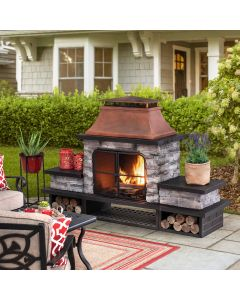 Sunjoy 48in Bel Aire Copper Outdoor Wood Burning Fireplace with Chimney and Built-in Shelves