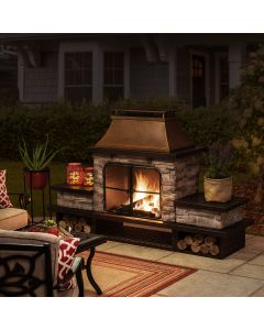 Sunjoy 48in Outdoor Wood Burning Fireplace with Chimney and Built-in Shelves
