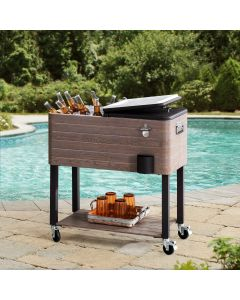 Sunjoy Brown 80 Quart Rolling Ice Chest Portable Patio Party Drink Cooler Cart with Shelf and Wheels
