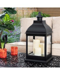 Sunjoy 10 in. Classic Black Battery Operated Decorative Outdoor Lanterns