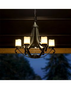 Sunjoy Traditional Outdoor Battery Powered Six-Light LED Chandelier