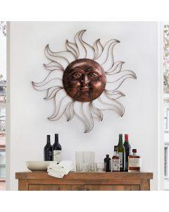 Sunjoy Iron Vintage Copper Sun Face Wall Decor with Screw-Hangers