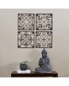 Sunjoy 4-Panel Iron Wall Art in Brown