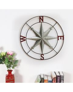 Sunjoy 2-Tone Vintage Copper Compass Wall Decor with Screw Hanger